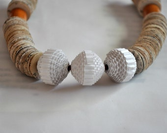 Paper Necklace Statement with 3 Corrugated cardboard Beeds , Necklace made of Paper Book.