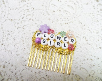 OOAK Handmade Customized Hair Comb for the Flower Girl -gold tone hair comb - Princess hair piece - Little girl hair comb - name comb - gift