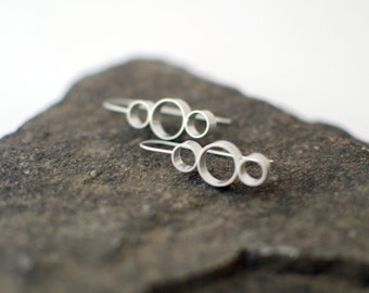 Karolin Earrings - Silver Earrings, Silver Drop Earrings, Geometric Earrings, Circle Earrings, Three Circle Earrings, Modern Earrings