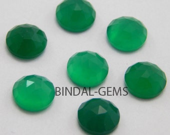 25 Pieces Wholesale Lot Green Onyx Round Shape Rose Cut Loose Gemstone For Jewelry