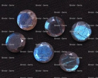 25 Pieces Lot Natural Labradorite Round Shape Faceted Cut Calibrated Gemstone