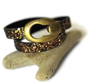 Brown leather bracelet, glitter bracelet, gypsy bracelet, Boho Bracelet, handmade, leather bracelet for women, wrap bracelet, bronze jewelry