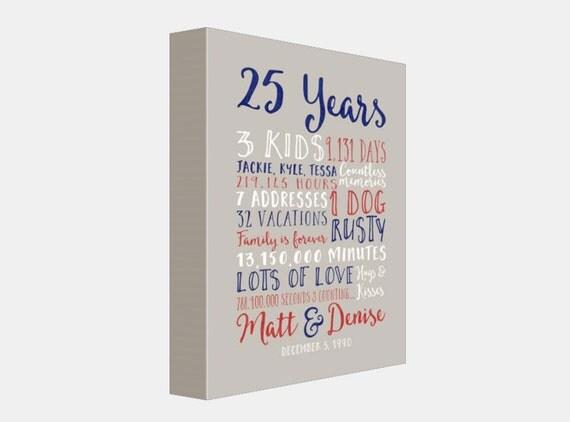 Twenty Fifth Wedding Anniversary Gifts: 25th Wedding Anniversary Gift Paper Canvas Twenty Fifth 10