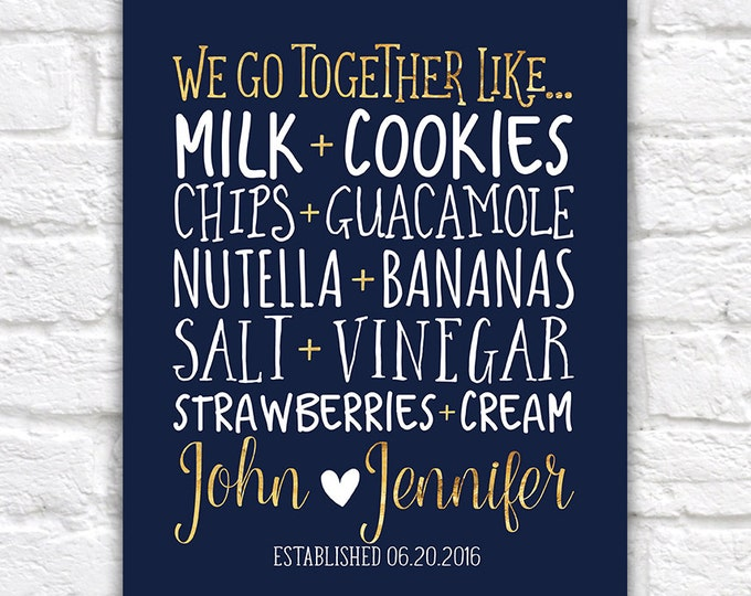 Featured listing image: Personalized Kitchen Art, Home Decor Food Pairings, We Go Together Like - New Home Navy and Gold, Gift for Boyfriend, Anniversary | WF281