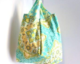 Women's Shopping Bag sz LG, Reusable Grocery Bag, Boho Bag, Gift For Her, Cotton Grocery Bag, Market Bag.