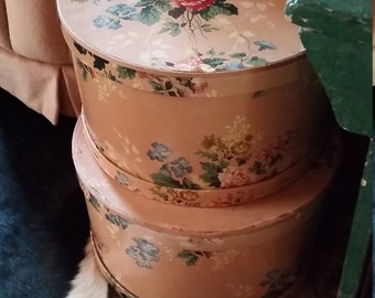 Beautiful Set Vintage Paper Covered Hat Boxes