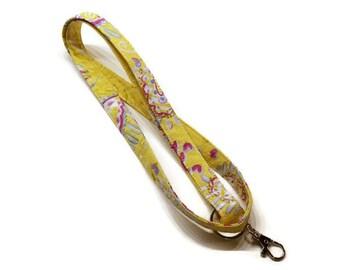 Yellow lanyard, keys lanyard, lanyard keychain, ID badge lanyard, cruise lanyard, ski pass lanyard.