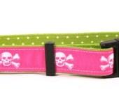 Pink Skulls on Green Polka Dots Standard Collar