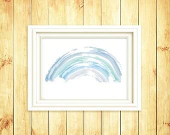 Blue Rainbow Children Print- Rainbow wall art- Kid Print - Nursery  Wall Print- Rainbow Illustration-  Nursery Rainbow Art - 8x10