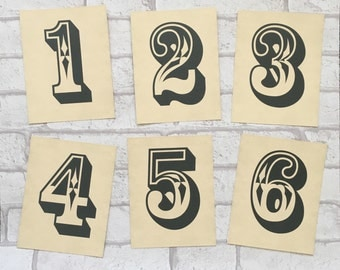 Wedding Table Number Cards - Simple Type rustic Vintage style Retro