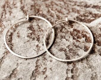 Sterling Silver Hoop Earrings, hammered, forged, everyday earrings, bridesmaid gift