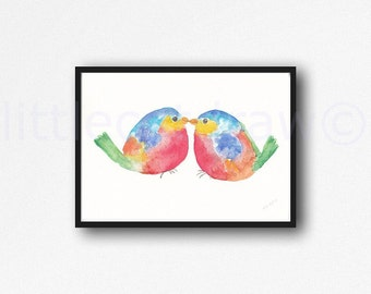 Chubby Kissing Colorful Birds Watercolor Painting Print Bird Wall Art Watercolour Birds Unframed Print Nursery Decor