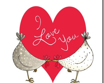Chickens & Heart Valentine's Card - Watercolour, Love, Anniversary Greetings Card