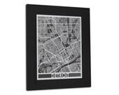 "Detroit - 11x14"" Framed Stainless Steel Laser Cut Map | Wall Art"
