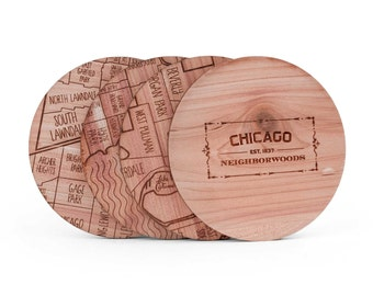 Chicago Map Coaster Set