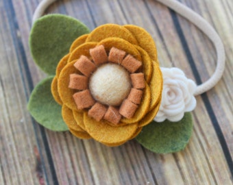 Felt flower headband - nylon headband -  Mustard and ivory