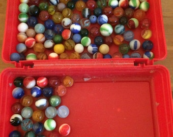 Vintage Glass Marbles 136 and 1 Metal Ball
