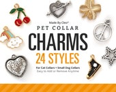 Pet Collar Charms (24 Styles) - Pick One - Heart / Star / Peace Sign / Moon / Snowflake / Skull / Pumpkin / Celtic Knot / Flowers & More