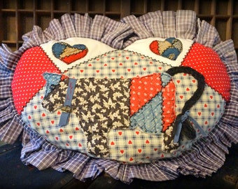 Vintage Quilted Cow Pillow