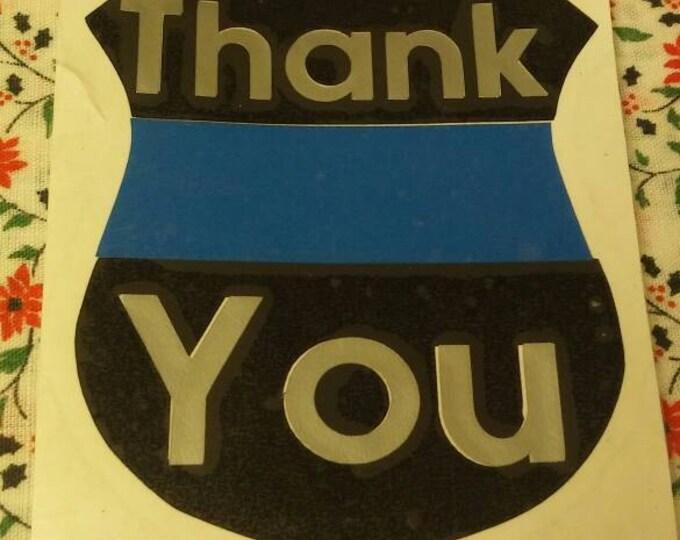 Thank You Law Enforcement Badge Thin Blue Line Vinyl Decal