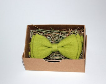Bow tie, Linen bow tie, Salad bow tie, Bow tie for men, Mens bow tie, Bow tie for boys, Rustic bow tie, Wedding bow tie, Party bow tie