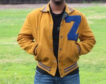 Reversible Tan & Navy Letterman Jacket