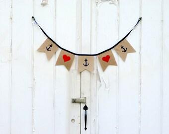 Nautical Anchor Heart Burlap Banner
