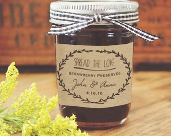 """Homemade Kraft Jam Favor Labels, 3"""" x 2"""" labels, Shower Thank You gifts, Rustic Country Wedding Favors & Holiday Gifts, Homemade Food Labels"""