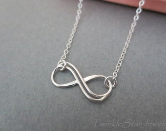 Sterling Silver Infinity Necklace - Sterling Silver chain-Double wire infinity link Necklace-Bridesmaids Gift-Everyday Necklace-Perfect Gift