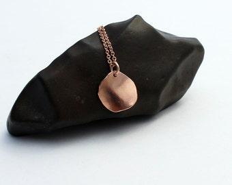Solid rose gold necklace. Rose gold disc necklace. 14k rose gold necklace. Rose gold pendant. Unique wavy rose gold pendant