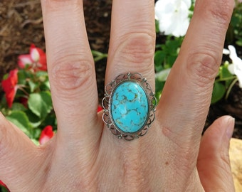 Beautiful Marbled Turquoise Sterling Ring size 6.75