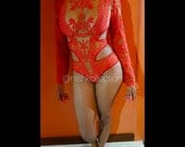 BLACK FRIDAY SALE/ Custom Embroidery lace sheer long sleeve Nish red Vintage swimsuit /monikini /swimwear with cuts at the sides.