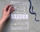 Original Typography paper cut - hand cut quote - Democritus - science art - Scherenschnitte
