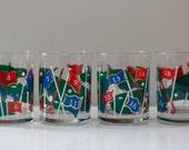 Vintage Golf Glassware by Culver, Set of Four