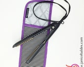 Black and White Stripe Hot Iron Holder with Purple Trim