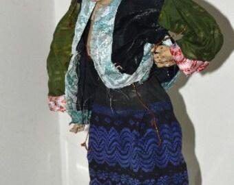 Puppet Marionette Medium Vintage Burmese Lady in a Blue Skirt