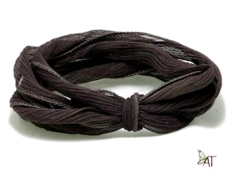 100% Silk Crinkle Ribbon- Hand Dyed - DARK BROWN