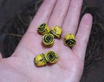 One pair handmade Rustic Roses, mustard sunflower yellow and black flowers, polymer clay art bead, cottage, folk art, gilt rose bead pair