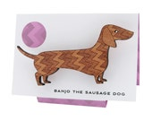 Banjo the Sausage Dog - chevron-patterned wooden brooch