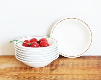 Vintage Corning Centura Berry Bowls, SET of 8 Pyroceram Tableware Brown Stripe Sauce Bowls