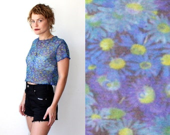 Vintage 90s Sheer Crop Top * Daisy Floral Print * Thin * Mesh