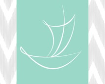 Turquoise / Aqua Sailboat, Chevron Instant Download, Printable Wall Art, Coastal Wall Decor, Beach Theme Home Decor