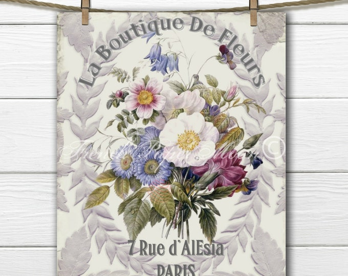 Shabby French Country Digital,  Vintage Botanical Download Print, Vintage Floral Collage Sheet, Digital Flower Bouquet,