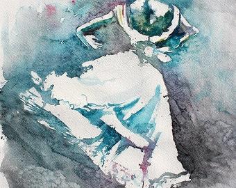 "Original Watercolor Painting. Portrait painting of a beautiful young dancin girl. Beautiful dancin ballerina . ""A Dance at Queen's Gate"""
