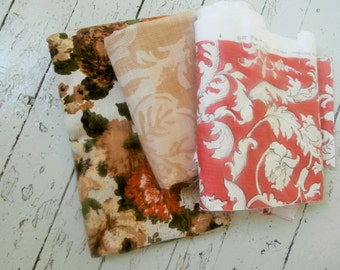 Vintage, Heavy Cotton, Upholstery Fabric, BUNDLE