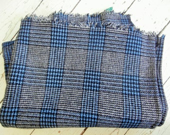 """1950's, , Dewey's, Woven Wool Blanket. Blue/Black/Grey, Plaid Fabric. Made in Vermont, 48"""" x 61"""""""