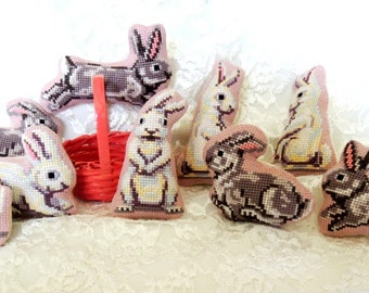 Bunnies!  Nine handmade, cross-stitched, stuffed bunnies!  Adorable Easter family--fun for all!