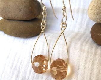 Sterling Silver Earrings/Beige Earrings/Dangle Earrings