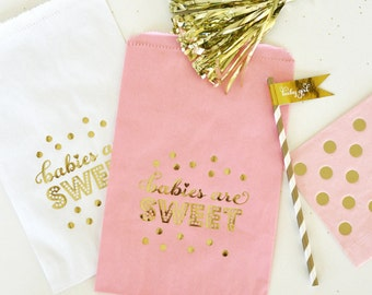 Pink & Gold Baby Shower Favor Bags, Candy Bags, Girl Baby Shower Decor, Baby Girl Gold Shower, Gold Cookie Bag, 1st Birthday Party Favor
