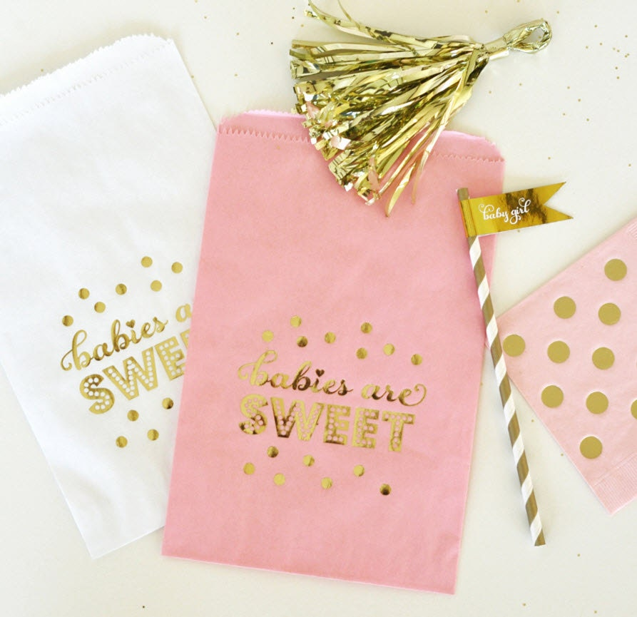 Pink & Gold Baby Shower Favor Bags Candy Bags Girl Baby